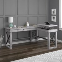 Ameriwood Home Wildwood L-Shaped Desk with Lift Top, Rustic White