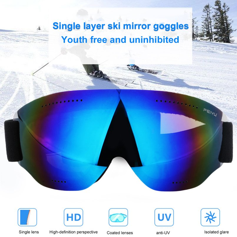 Feiyu 068 Single Layers Windproof Sunglasses Ski Goggles Lens Glasses Outdoor Sports Eyewear Riding Skating Skiing... by