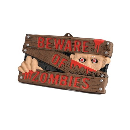 Beware Of Zombies Sign Warning Halloween Decoration Sign 16