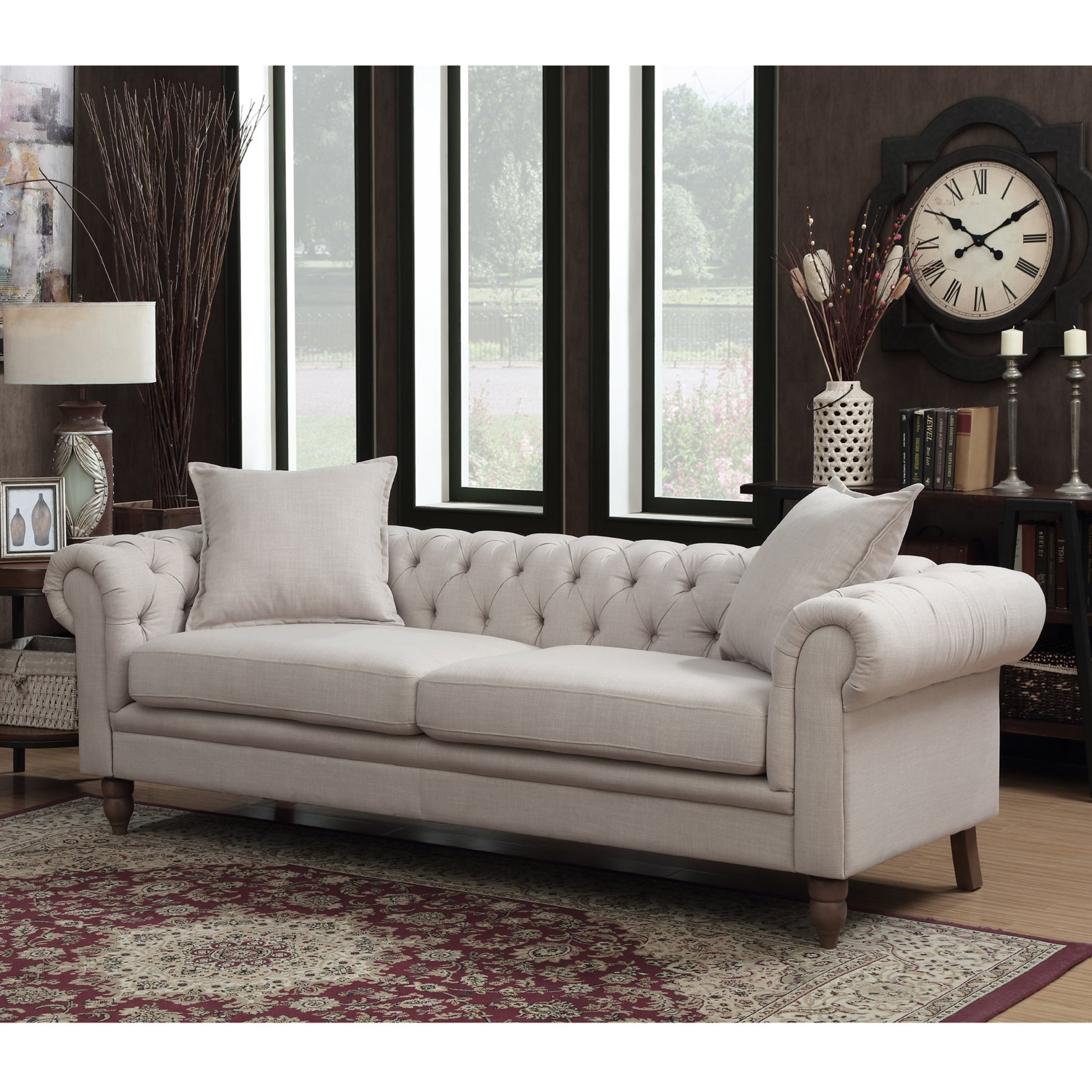 Christies Home Living Juliet Upholstered Button Tufted Chesterfield Sofa