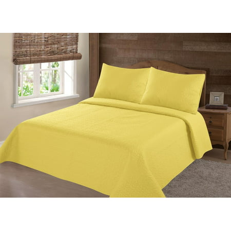 MODREN COLLECTION 1900 COUNT TWIN NENA  YELLOW SOLID CLOSOUT QUILT BEDDING BEDSPREAD COVERLET PILLOW CASES