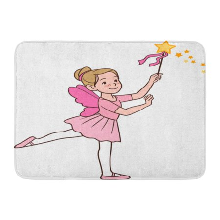 GODPOK Cartoon Character of Smiling Cute Little Caucasian Ballerina Girl Dancing in Fairy Costume with Wings Rug Doormat Bath Mat 23.6x15.7 inch (Little Girl Fairy Costume)