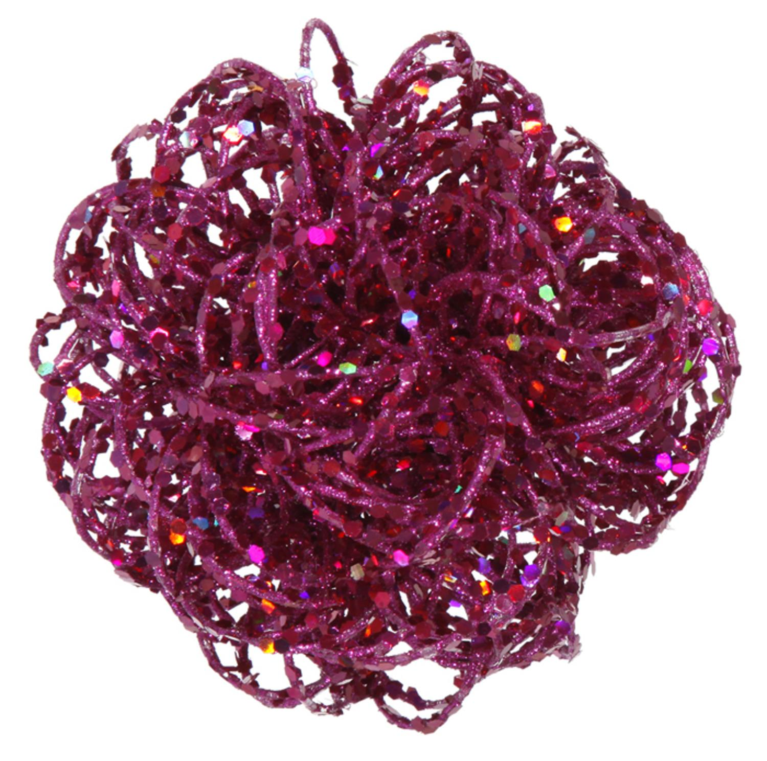 "3.5"" Sparkling Pink Magenta Curly Ball Christmas Ornament"