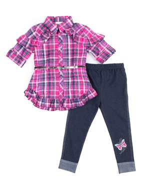 Little Lass Ruffle Belted Plaid Top and Knit Denim Leggings, 2pc Outfit Set (Baby Girls & Toddler Girls)