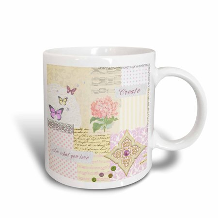 3dRose Do what you love - Create - Pastel Girly Shabby Chic Collage - Pink Flower music and butterflies, Ceramic Mug, (Shabby Chic Ceramic)