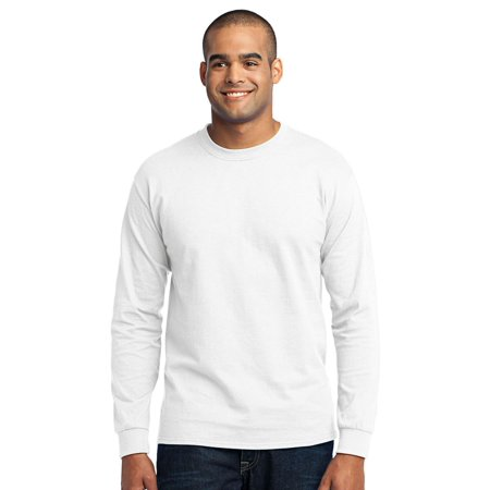 Port & Company Men's Big And Tall Shrink Resistant T-Shirt Big And Tall White T-shirt