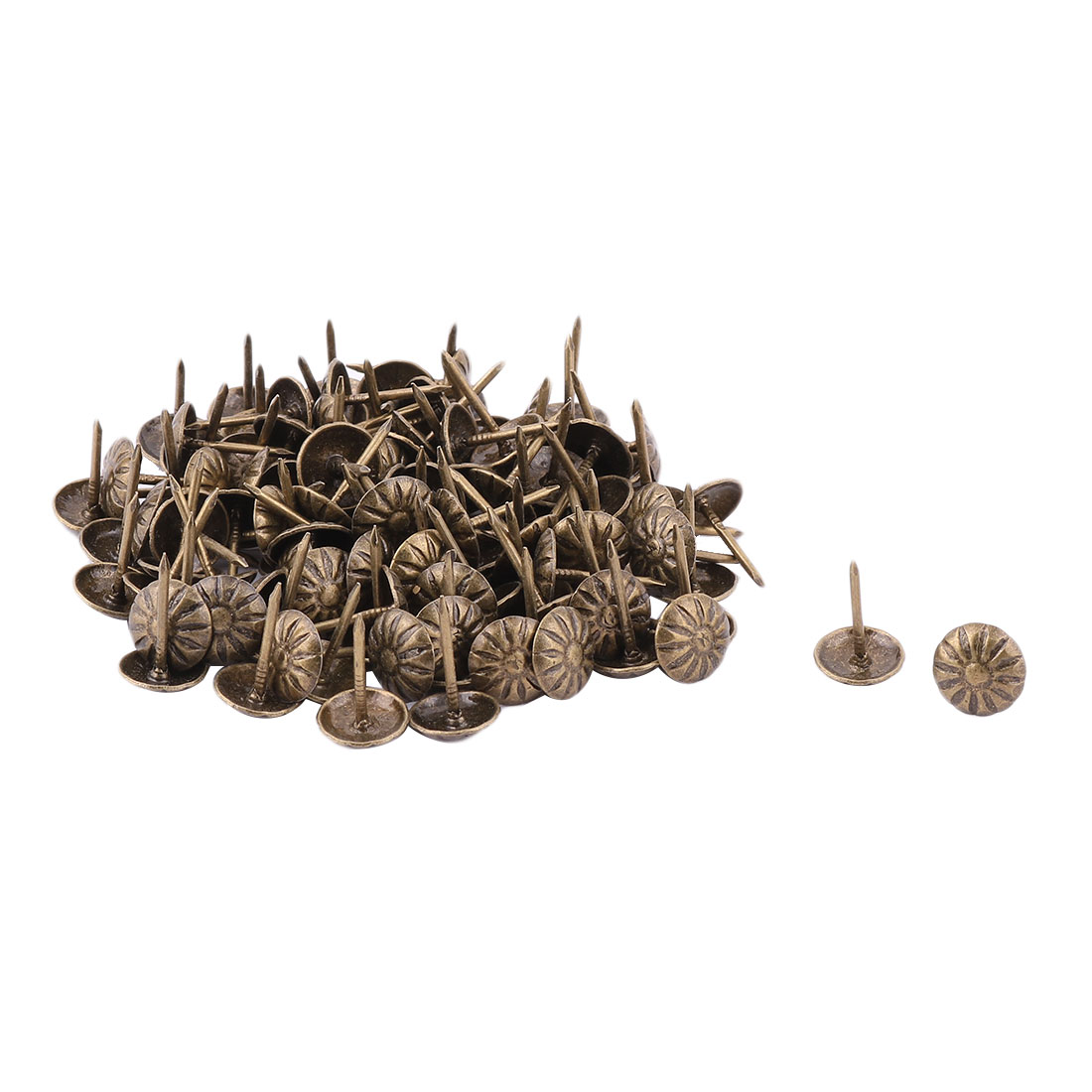 Metal Flower Design Round Head Furniture Tack Nail Pushpin Bronze Tone 110pcs