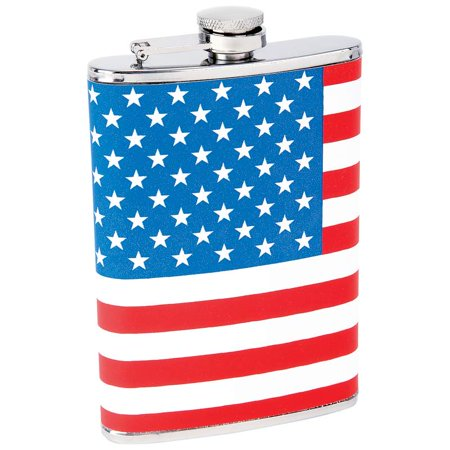 Maxam® 8oz Stainless Steel Flask with American Flag - American Flag Flask