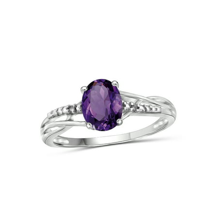 Brazilian Amethyst Gemstone (1.10 Carat Amethyst Gemstone and Accent White Diamond Ring )