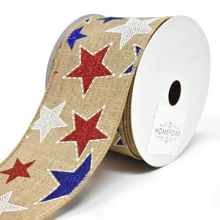 Glitter Stars Canvas Wired Ribbon, 2-1/2-Inch, 10-Yard (Star Student Ribbons)