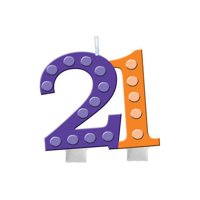 """Club Pack of 12 Bright and Bold Purple and Orange """"21"""" Molded Numeral candle with Balloons 3.5"""""""