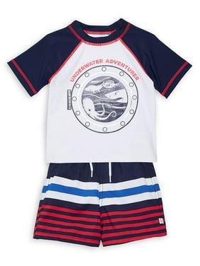 Little Boy's 2-Piece Underwater Rashguard & Swim Short Set