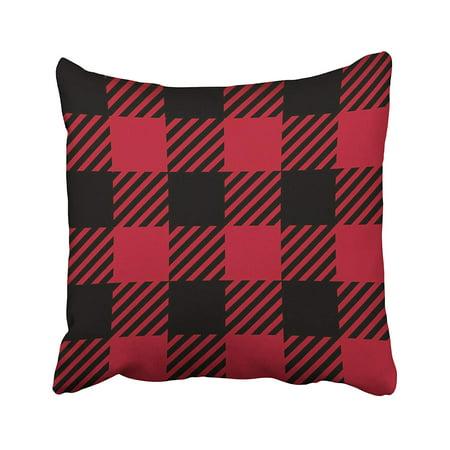 Crimson Plaid - ARTJIA Black Tartan Ruby Lumberjack Buffalo Plaid Red Abstract Checkered Crimson Linen Pillowcase Cushion Cover 18x18 inch