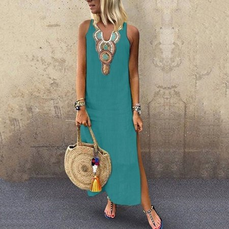 iLH Women's Printed Sleeveless V-neck Maxi Dress Split Hem Baggy Kaftan Long Dress