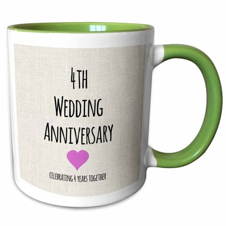 3dRose 4th Wedding Anniversary gift - Linen celebrating 4 years together fourth anniversaries four yrs - Two Tone Green Mug,