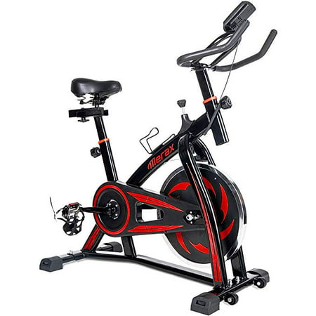 Merax Indoor Cycling Exercise Bike with Multi-functional Digital LCD Monitor and Water Bottle Holder, Red -  s301