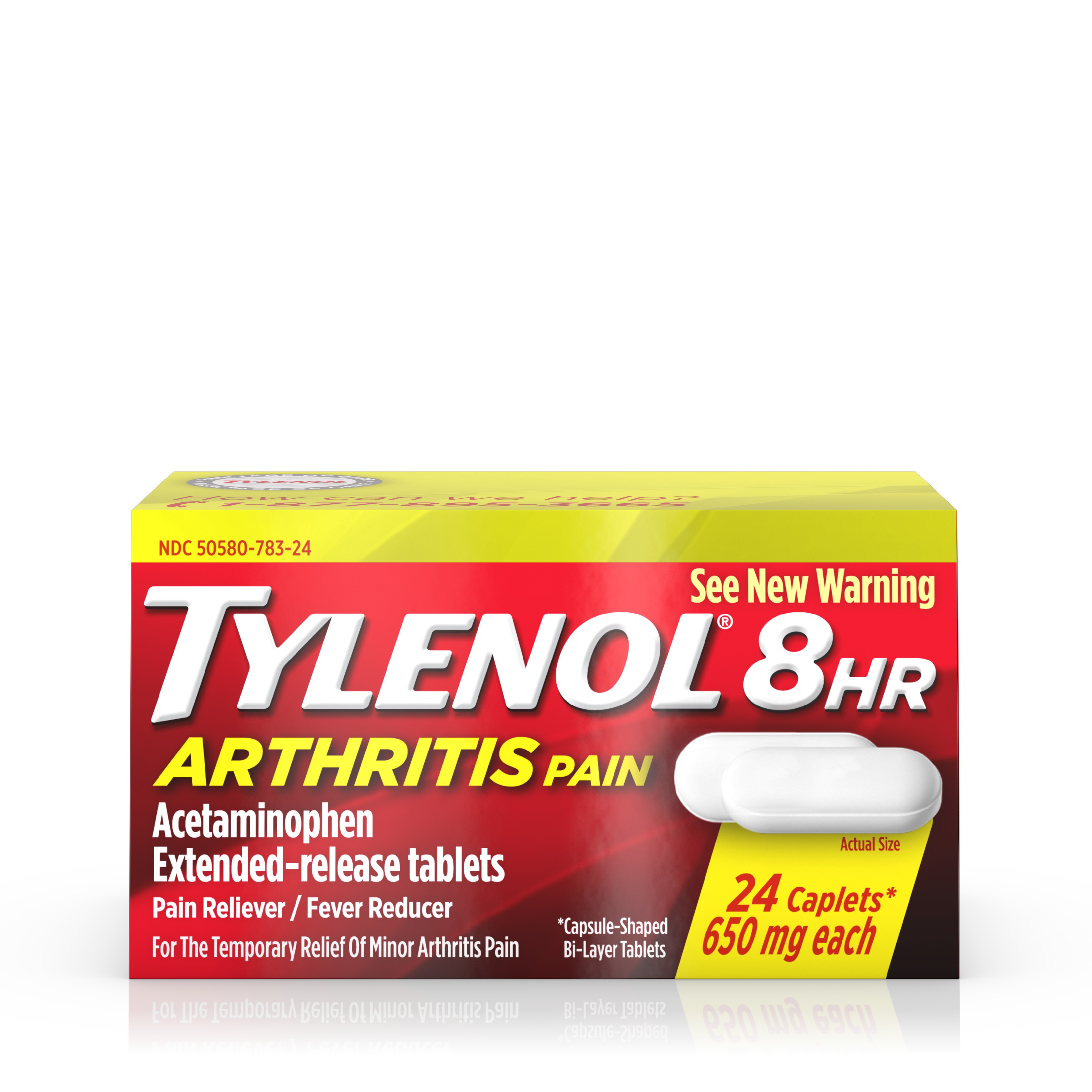 Tylenol 8 HR Arthritis Pain Extended Release Caplets, Pain Reliever, 650 mg, 24 ct.