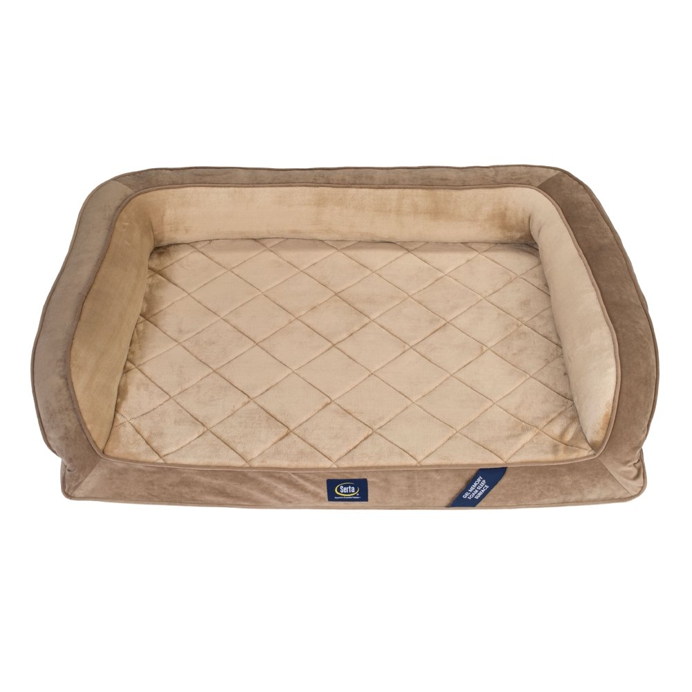 """Serta Gel Memory Foam Quilted Ortho Couch Dog Bed, Extra Large, 44""""x30"""""""