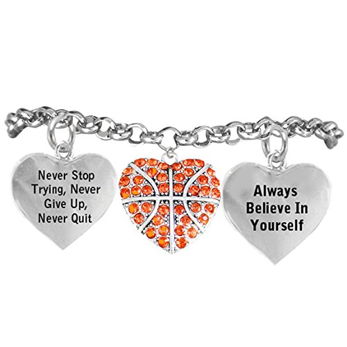 """Basketball, ""Never Stop Trying, Never Give Up"" ©2014 Hypoallergenic Adjustable Bracelet"