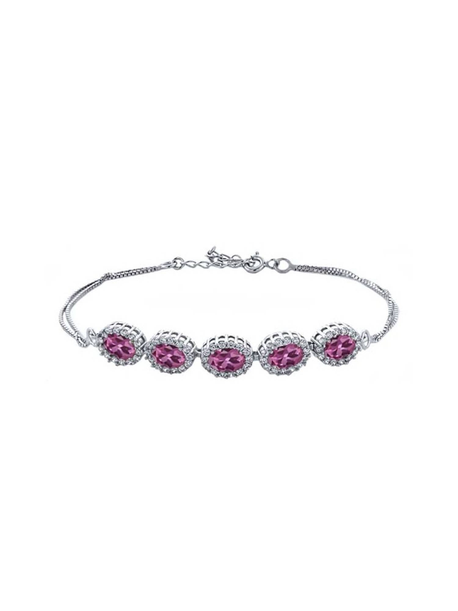 5.29 Ct Oval Pink Tourmaline 925 Sterling Silver Bracelet by