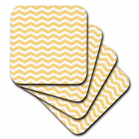3dRose Golden Yolk Yellow and White Chevron Zig Zag Stripy Pattern Cute Classic, Ceramic Tile Coasters, set of - Gold And White Chevron