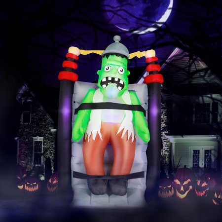 Weather Channel Halloween (Holidayana 7 ft Electrified Shaking Frankenstein Halloween Inflatable, Spooky Weather Resistant Inflatable Decoration with LED Lights, Built-in Fan, and)