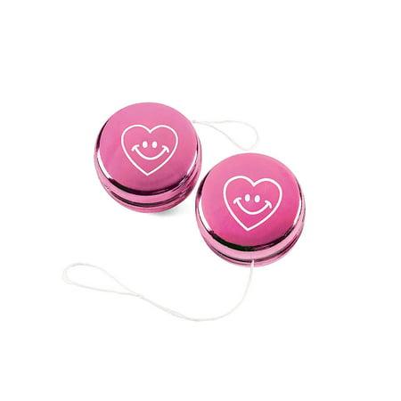 Fun Express - Valentine Metallic Mini YO-Yos for Valentine's Day - Toys - Value Toys - Yo - Yos - Valentine's Day - 12 (Promotional Yo Yos)