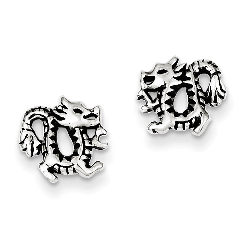 Sterling Silver Antiqued Dragon Post Earrings