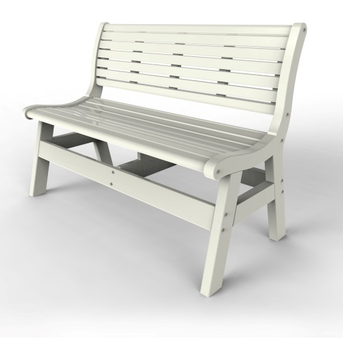 Bench with Back by Malibu Outdoor - Newport, White 48''