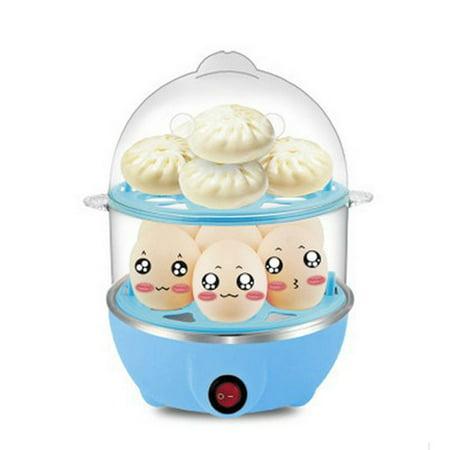 2-Layer Rapid Egg Cooker Steamer Electric Egg Poacher Boiler 14 Egg Capacity...