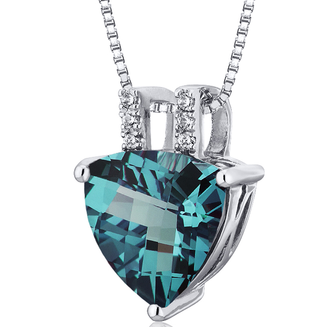 Peora 3.25 Carat T.G.W. Trillion Cut Created Alexandrite Rhodium over Sterling Silver Pendant, 18""