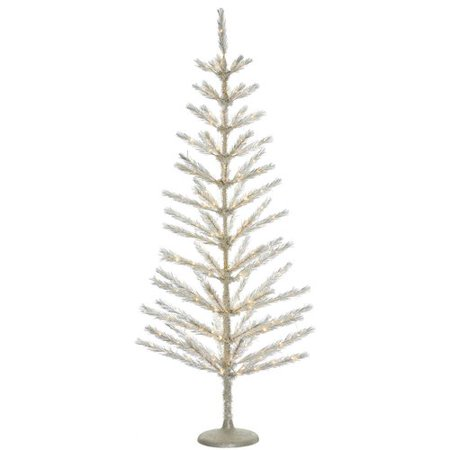 the holiday aisle 5 champagne feather tree with 194 low voltage led clearwhite