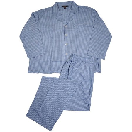 State O Maine Mens Big & Tall Long Sleeve Long Leg Sleep Lounge Pajama Set, 35447 blue plaid / - Big And Tall Womens