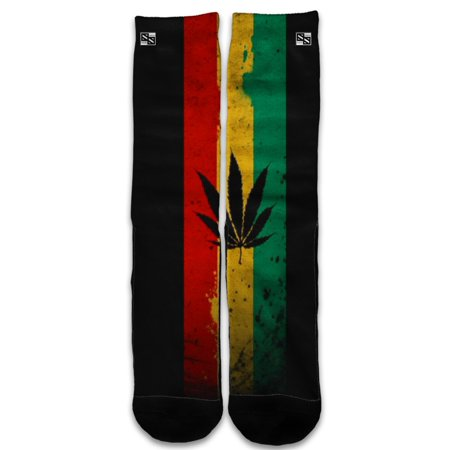 Custom Elite Style Athletic Sport Socks Crew 18 Inch / Rasta Weed Pot Leaf Red (Rasta Weed Socks)