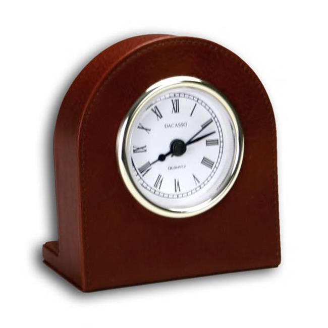 Dacasso A3016 Mocha Leather Desk Clock - Gold trim