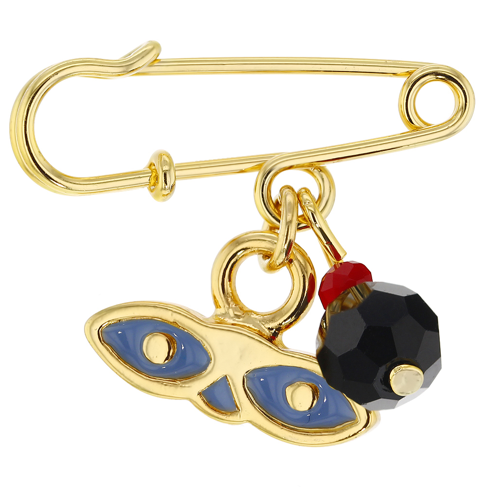 14k Gold Plated Blue St. Lucy Simulated Azabache Protection Baby Pin Brooch by In Season Jewelry