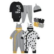 Gerber Baby Boy Baby Shower Layette Gift Set, 11-Piece, Black, White, Yellow Nature