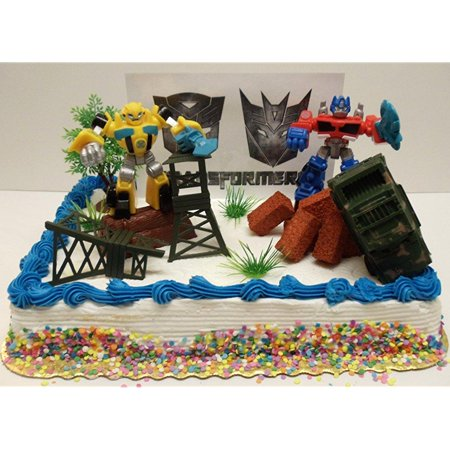 Transformers 10 Piece Birthday Cake Topper Set Featuring