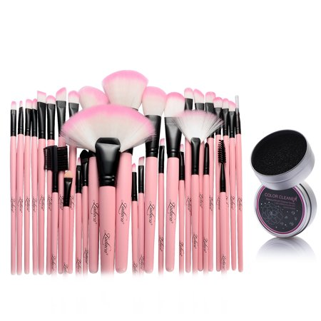 Zodaca Pink 32 Piece Pouch Bag Case Cosmetic Makeup Brushes Kit Set   Color Remover Switch Clean Sponge