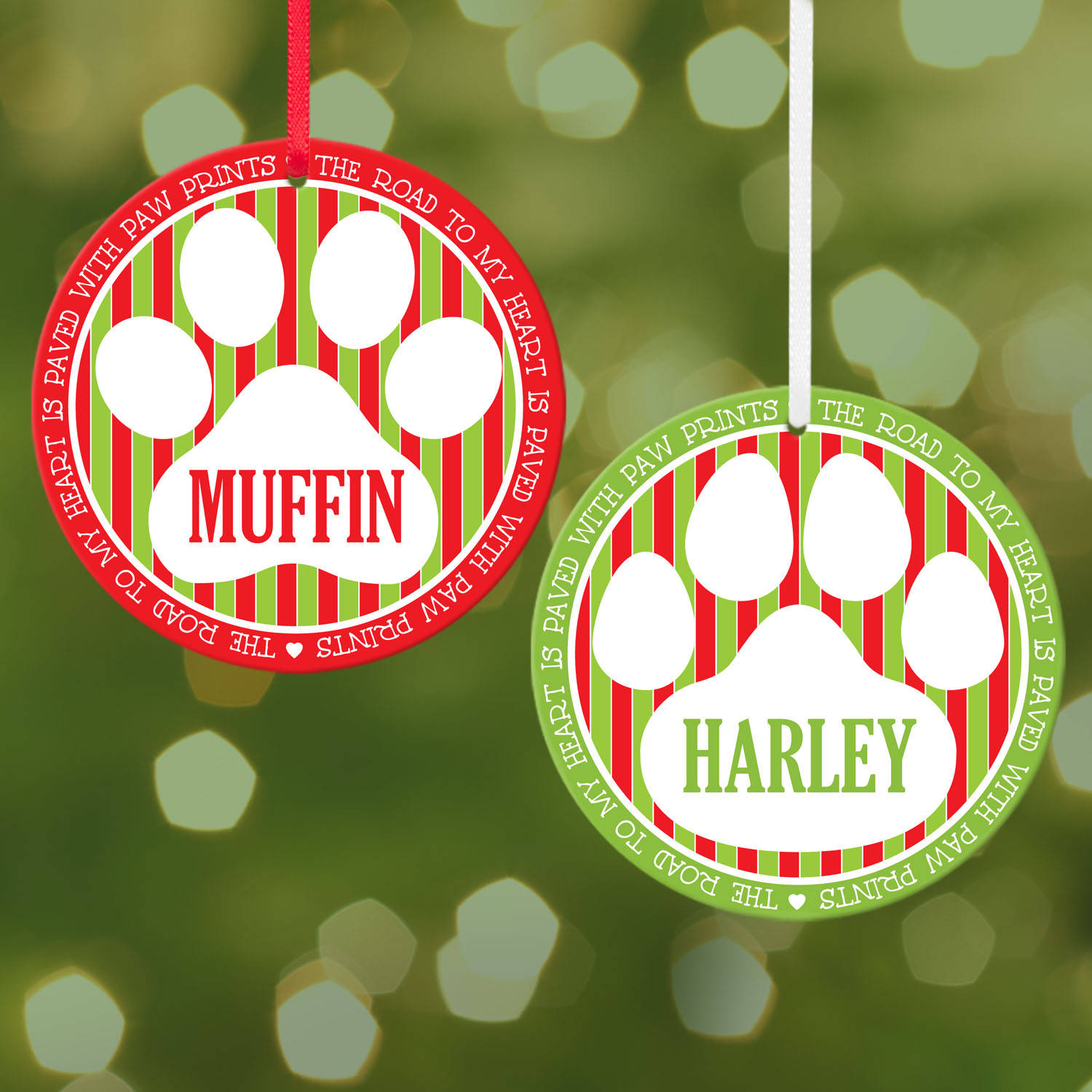 Personalized My Heart is Paved with Paw Prints, Round Christmas Ornament, Dog