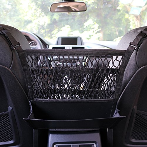 AMEIQ 3-Layer Car Mesh Organizer with Leather Box, Seat Back Net Bag, Barrier of Backseat Pet Kids, Cargo Tissue Purse... by