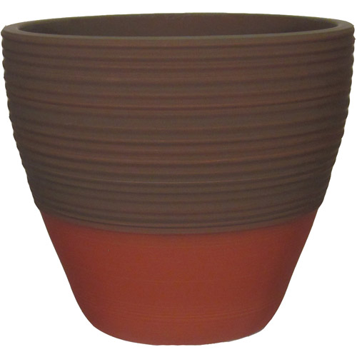 "Better Homes and Gardens Prescott 15"" Decorative Resin Planter, Red Clay"
