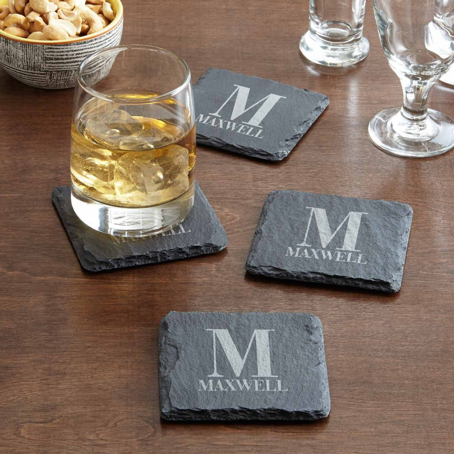 Personalized Family Name and Initial Slate Coasters