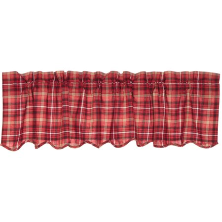 Apple Red Rustic & Lodge Kitchen Curtains Braxton Rod Pocket Cotton Plaid 16x60 Valance ()