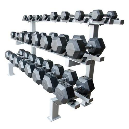 12-Pair Adjustable Dumbbell Racks in Black with Cradle