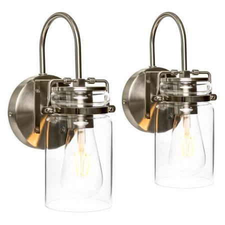 Best Choice Products Industrial Metal Hardwire Wall Light Lamp Sconces with Clear Glass Jar Shade, Silver, Set of