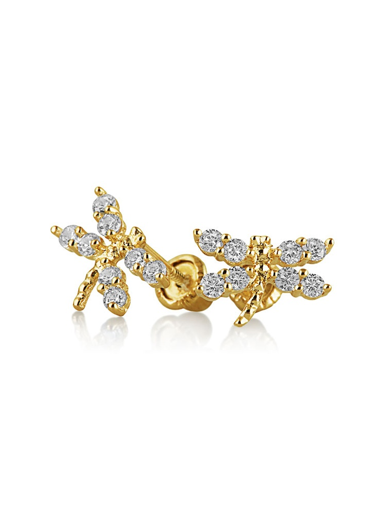 14K Yellow Gold CZ Dragonfly Animal Baby Screwback Studs