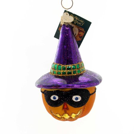 Old World Christmas MASKED JACK O'LANTERN Glass Ornament Pumpkin Halloween - Pumpkin Mask Printable Halloween