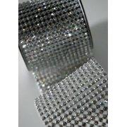 "Crystal Diamond Craft Ribbon Trim with Silver Setting 2.75"" x 1 Yard"