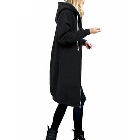 Women Winter Long Sleeve Zip Up Hooded Hoodie Jacket Jumper Loose Oversized Cardigan Coat Outwear Plus Size Sleeve Zip Cardigan